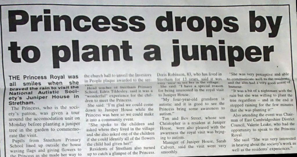 Princess drops by to plant a Juniper